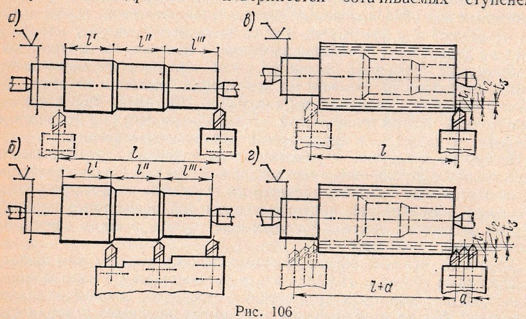 наружная обработка трехступенчатого вала